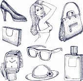 Hand drawn vector fashion elements illustration