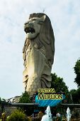 SINGAPORE - JANUARY 25: View of Merlion Statue on January 25, 2014 in Singapore. A mythical creature