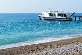 The Motor Yacht For Diving Is Near Pier, Antalya, Turkey