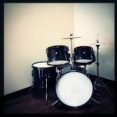 pic of drum-kit  - Instagram style image of a drum kit - JPG