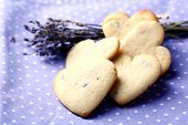 Lavender cookies on color napkin background
