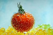cherry tomato with bubbles