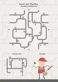 Vector set - Pipeline, seamless background, constructor & happy plumber