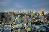 Modern Commercial City (bangkok) In Night