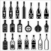 Set Of Alcohol Bottles.