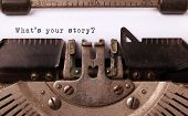image of machine  - Vintage inscription made by old typewriter what - JPG