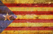 Wooden Flag Of Catalonia.