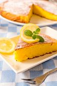 picture of pound cake  - Homemade lemon cake on the plate.Selective focus on the front part of cake