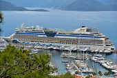 MARMARIS, TURKEY - MAY 1, 2014: Cruise ship AIDAdiva in the port of Marmaris. AIDA ships cater to th