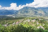 stock photo of himachal  - Landscape of Naggar village Himachal Pradesh India - JPG