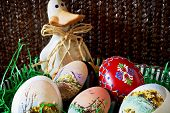 Easter Basket With Eggs And Duck