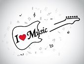 I Love Music Electric Guitar Musical Notes Concept & Red Heart