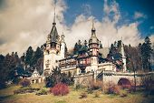 View Of Peles Castle, Sinaia Romania, Vintage Coaster