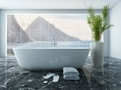 Picture of white bathtub in front of floor to ceiling window
