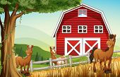 Illustration of the horses at the farm near the red barnhouse
