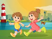 Illustration of the two adorable kids running with butterflies