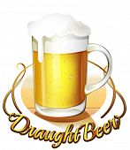 image of draught-board  - Illustration of a draught beer label and a pitcher of cold beer on a white background - JPG