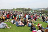 HASTINGS, ENGLAND - MAY 5, 2014: Crowds gather on the West Hill at the annual Jack In The Green fest