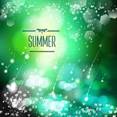 Spring and summer watercolor nature background with shining sparks and bokeh. Vector Illustration, G