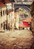 View Of Porto In Portugal With The Famous Bridge Over The River Douro From The Famous Architect Eiff