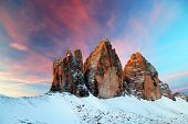 Sunrise light in the Dolomites, Italy, Europe