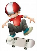 Illustration of a young man playing with his skateboard on a white background