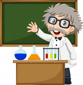 Illustration of a scientist in front of the empty blackboard on a white background