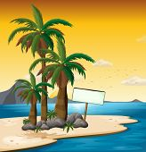 Illustration of an empty signboard near the palm trees at the shore