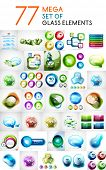 Mega set of glass abstract shapes design elements for business backgrounds | banners | business temp