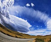 Gray dirt road in the Chilean national park to