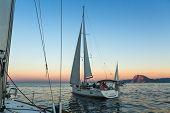 PATRAS, GREECE - OCT 2, 2014: Unidentified sailboats participate in sailing regatta