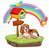 Illustration of a dog sitting under a birdhouse