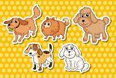 Illustration of many kind of dogs