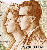 BELGIUM - CIRCA 1966: King Baudouin I and Queen Fabiola on 50 Francs 1966 Banknote from Belgium.