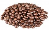 Coffee beans with chocolate glaze, isolated on white