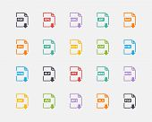 Vector set of Document File Formats and Labels color icons in fl
