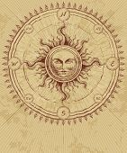 picture of compass rose  - Compass rose with sun on grunge background - JPG