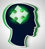 Human Head. Concept Of A New Idea, Piece Of The Puzzle In The Form A Brain In Green Color