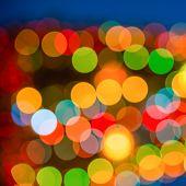Big Abstract Xmas Circular Lights Bokeh Background, Closeup