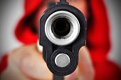 image of clos  - gangster with gun focus on gun clos eup - JPG