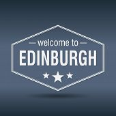 Welcome To Edinburgh Hexagonal White Vintage Label