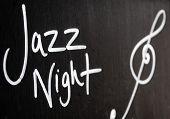 Jazz Night Advertisement Sign On Blackboard