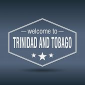 Welcome To Trinidad And Tobago Hexagonal White Vintage Label