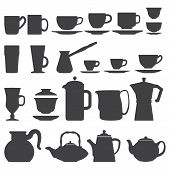 Cups And Pots silhouette set