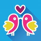 Birds kiss. Cute valentine`s card