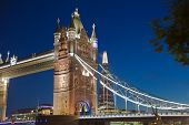 Tower bridge on the river Thames in night lights