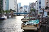 Traditional Tokyo city life at small canal