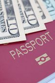 Passport book and The dollar banknotes for travel concept