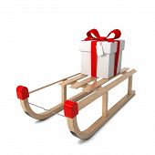 Wooden Sledges With Gift Box