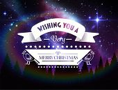 Digitally generated Merry christmas message against aurora sky